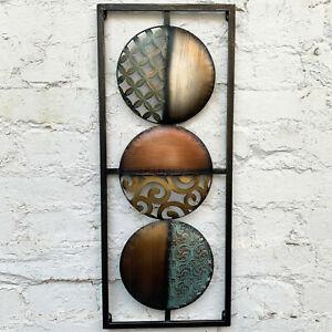 3D Coloured Modern Circles 3 Tier Metal Contemporary Abstract Wall Sculpture Art