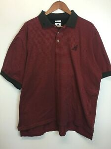 ADIDAS MENS RED STRIPED 60'S 2PLY MERCERIZED POLO SHIRT SIZE UNKNOWN