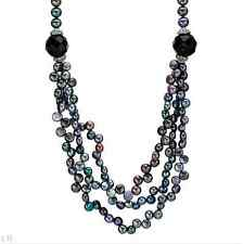 New Necklace With Genuine Freshwater Pearls & Onyx In Sterling Silver RRP$160.00