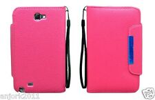 Samsung Galaxy Note II 2 Wallet Case w/ Card Slots Magnetic Closure Hot Pink