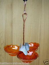 Holland Hill Triple Orange Cup Copper Oriole Jelly Jam Hanging Bird Feeder