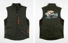 New Orvis Trout Bum Full Zip Softshell Vest w/ Embroidered Fly Fishing Scene M