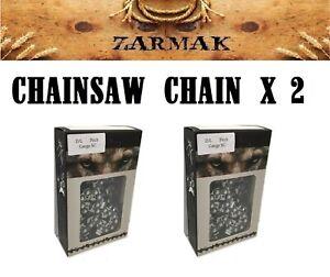 2 x Chainsaw chain full CHISEL 3/8 LP 050 52 D/L fits 14 inch bar