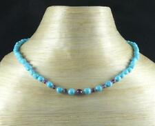 Natural turquoise amethyst necklace 18 inches silver clasp