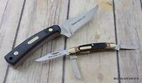 SCHRADE OLD TIMER FIXED BLADE SKINNING KNIFE & 3 BLADE FOLDING KNIFE COMBO SET