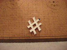 TEN79LA BOUTIQUE DESIGNER WHITE HASHTAG METAL LAPEL PIN - BRAND NEW