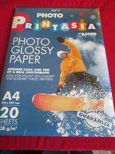 PHOTO GLOSSY PAPER A4 20 SHEETS PRINTASIA BY ILFORD NEW & SEALED