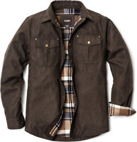CQR Men's Flannel Lined Shirt Jackets, Long Sleeved Rugged Plaid Cotton Shirt