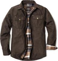 CQR Men's Flannel Lined Shirt Jackets, Long Sleeved Rugged Plaid Cotton Shirt