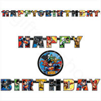 Justice League Happy Birthday Banner Kids Superhero Party Decorations Supplies