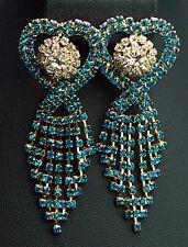 glitzy tassel earrings turquoise & clear crystals indian boho heart