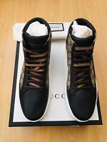 GUCCI MENS SHOES BROWN LEATHER CANVAS TRAINER SNEAKERS UK 8 42 SUPREME HIGH TOP