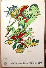 "1972 Olympics Linen Mounted 25+X39+"" ORIGINAL Lithograph artist~Charles Lapicque"
