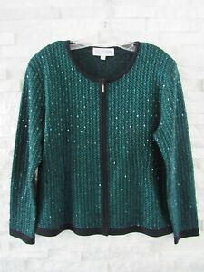 St. John Evening Black & Teal Green Beaded Santana Knit Zip Jacket 14