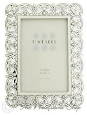 Sixtress Sophia Ornate white & silver photo frame with beads and crystals 6x4