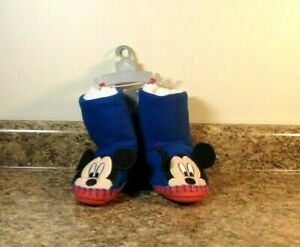 Disney Store Mickey Mouse Slippers Booties Toddler Boys Size 7/8 NWT