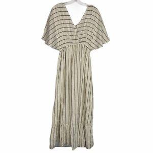 World Market Striped Boho Maxi Dress Elastic Waist Short Sleeve Size L/XL New