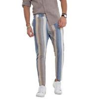 Pantalone Uomo Rigato Azzurro Slim Lino Tasca America GIOSAL