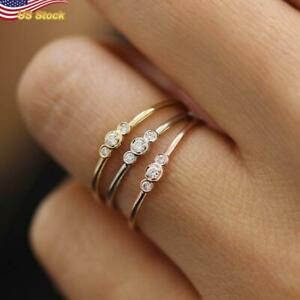 Elegant 925 Silver,Gold,Rose Gold Plated Wedding Ring US Size 6-10