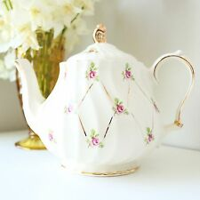 Vintage Sadler Teapot - English Pink Roses Teapot - Bone China Tea Pot