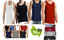 Mens Plain Vest Sleeveless 100% Cotton Top Summer Gym Tops Pack Plain All Sizes