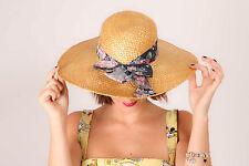 Vintage sumer straw hat navy blue floral scarf trim summer boho hippy festival