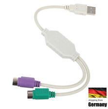 2x PS/2 - USB auf Adapter Kabel für Tastatur und Maus Konverter