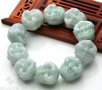 20mm Natural jadeite Carved Buddha Beads Mala Bracelet Spirituality Japa Chakra