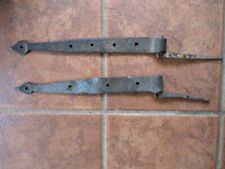 "2 Vintage Hand-Wrought IRON, ARROW STRAP HINGES with STUD PEGS,1840,16""&15.25""L."