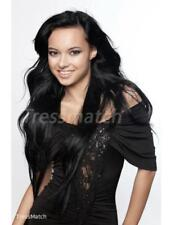 """20""""-22"""" Off Black Full Head Remy Clip In Human Hair Extensions Double Drawn Full"""