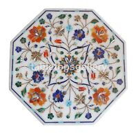 """15"""" White Marble Top Side Coffee Table Carnelian Floral Inlay Garden Decors W270"""