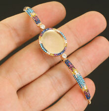 925 Silver AAA Quality Jewelry Multi-Color Zircon Identity Bracelet / Adjustable
