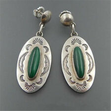 Vintage Handmade 925 Silver Green Glass Wedding Dangle Earrings Jewelry 1 Pair