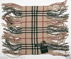 Burberry 100% Cashmere Light Camel Check Happy Fringe Scarf