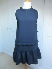 Minkie for TopShop Pull On Black Crepe Ruffle Shift Dress. One Size. BNWT