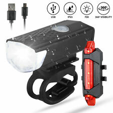 USB Rechargeable LED Bicycle Headlight Head Light Front Rear Lamp Cycling USA