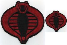 "GI Joe Cobra Commander Fully Embroidered 6"" & 3"" Red & Black Patch Set"