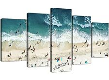 Extra Large Panoramic Blue Beach - Landscape Canvas 5 Set - 160cm Wide