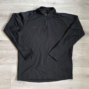 Nike Dri Fit 1/4 Zip Size Large L Mens Black Long Sleeve Pullover