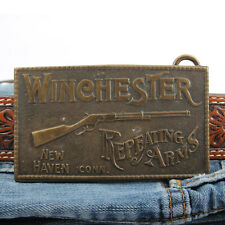 Vintage Mens Belt Buckle Winchester Repeating Arms Brass New Haven Connecticut