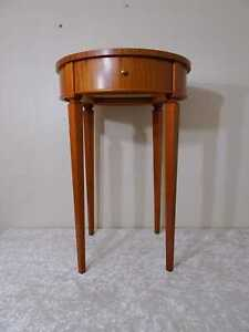 Wood Side Table Compass Inlaid - Vintage Style Antique Design