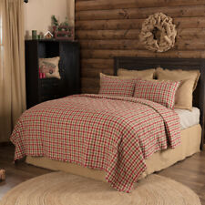 King Queen Twin Bed Quilt Blanket Bedspread Coverlet Red Cotton Plaid VHC Rustic