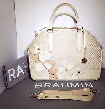 Brahmin NWT Hudson Crème Miramonte Satchel Shoulder Crossbody Leather Raffia