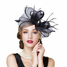 Womens Fascinator Feather Cocktail Bridal Hat Kentucky Derby Wedding Party A326