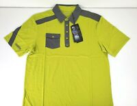 Ogio Mens Clutch Polo Short Sleeve Yellow Gray Golf Shirt Size Large NWT