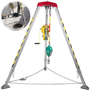 VEVOR Confined Space Tripod Kit Well Rescue Tripod 1.6-2.45m with 2600lbs Winch