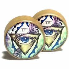 Pair of Wood Handmade Ear Plugs - Organic Gauges Flesh Tunnels - All Seeing Eye
