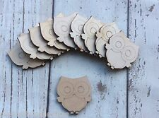 10 laser cut wooden mini tiny owls unpainted, perfect shabby chic embellishments