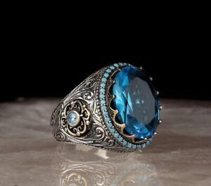 AAA Quality 925 Sterling Silver Handmade Jewelry Elegant Aquamarine Men's Ring