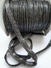 2M Black/Silver dots Insertion Flanged Rope Piping Upholstery Sewing 10mm Wide